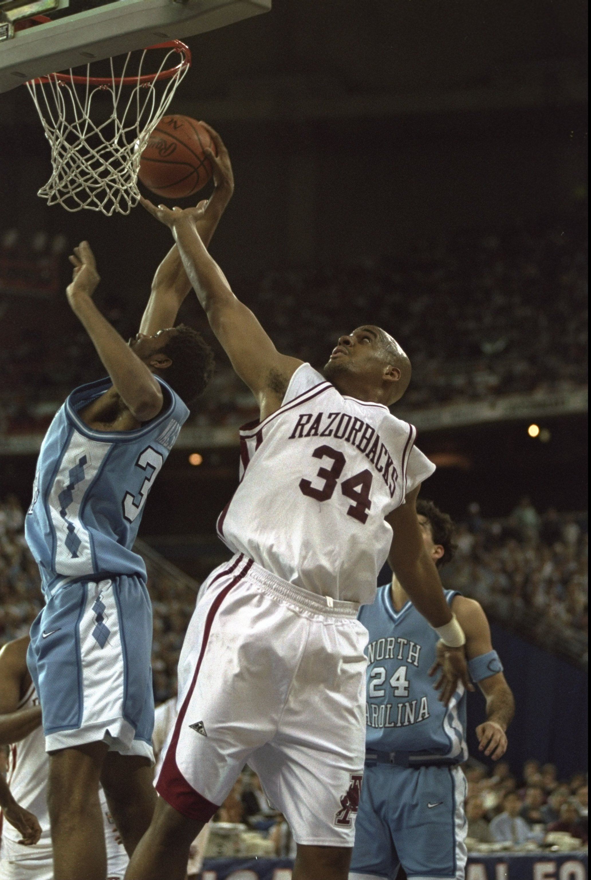 Arkansas was knocked out of the tournament in the Sweet 16 by North Carolina in 1993. The Tar Heels went on to win the national championship.