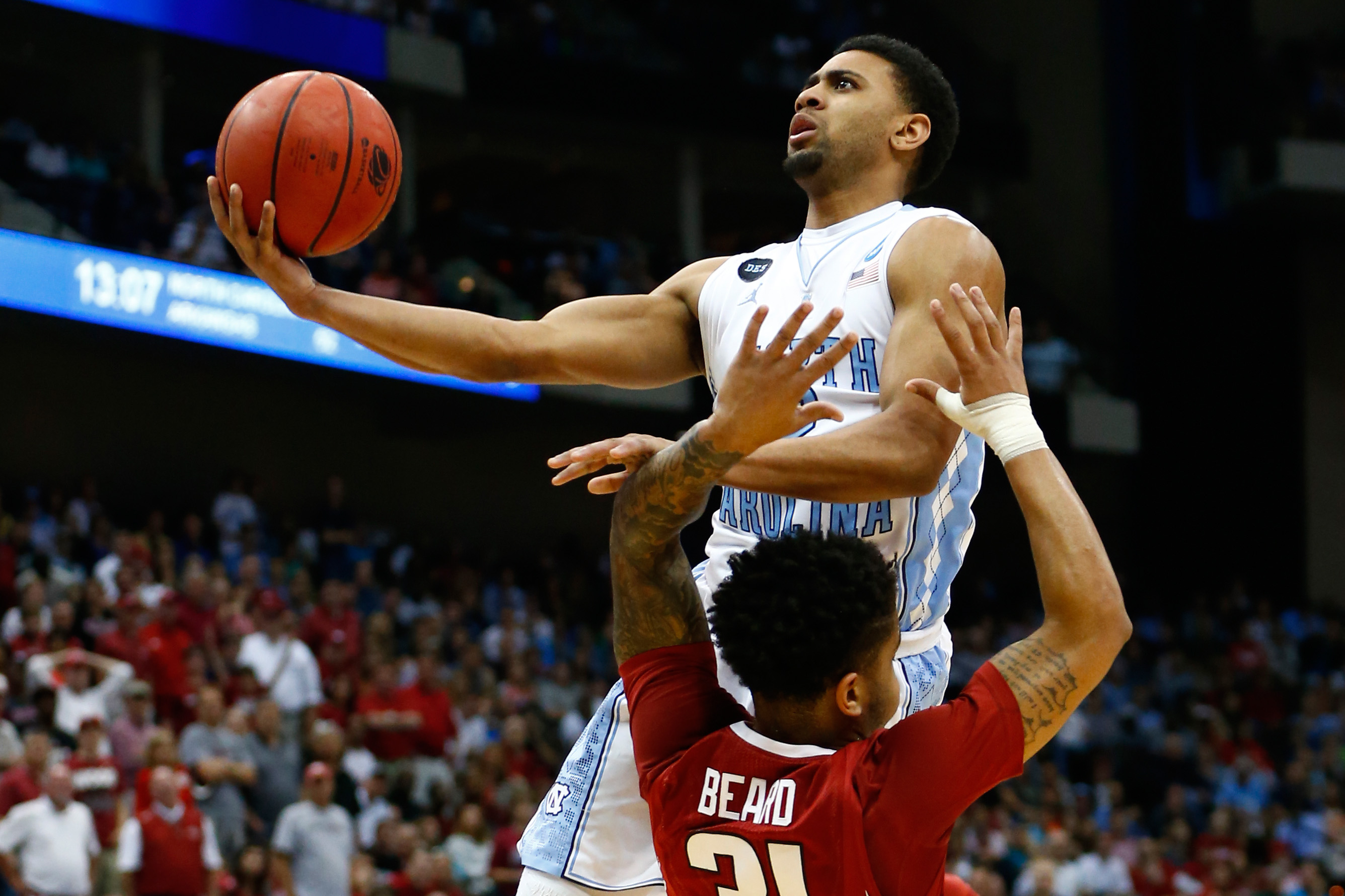 North Carolina beat Arkansas 87-78 in the second round of the 2015 NCAA Tournament.