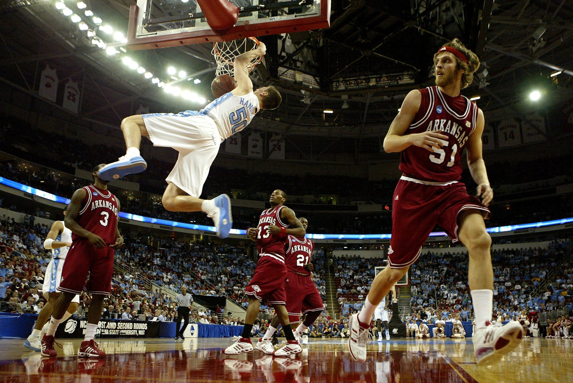 In Arkansas' last two tournament appearances, the Tar Heels have eliminated the Razorbacks.