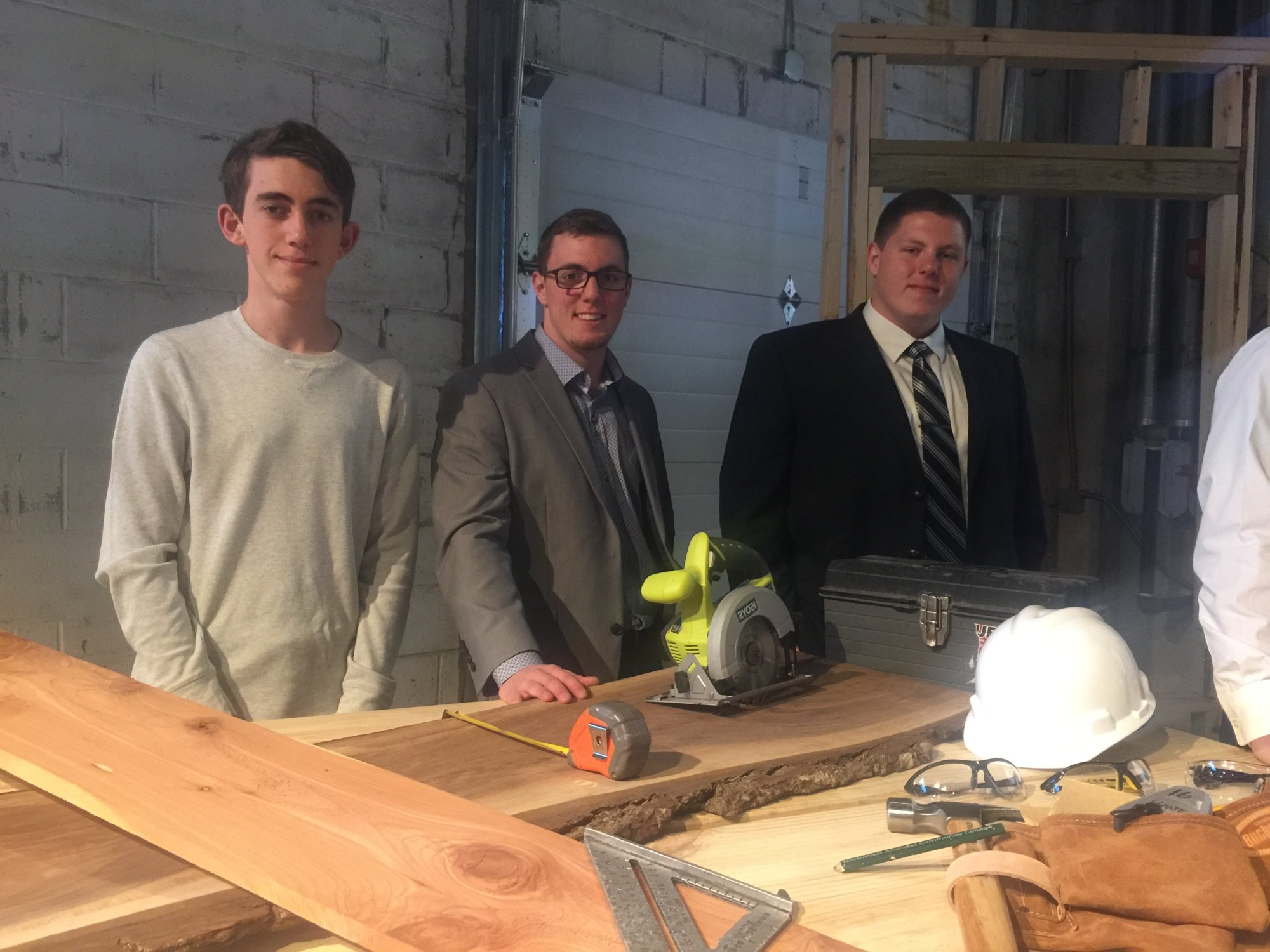 From left to right, Bentonville students Payton Harris, Alex Blevins and Sam Appling. Payton received the student of the year award for the Construction Professions and Management career strand.