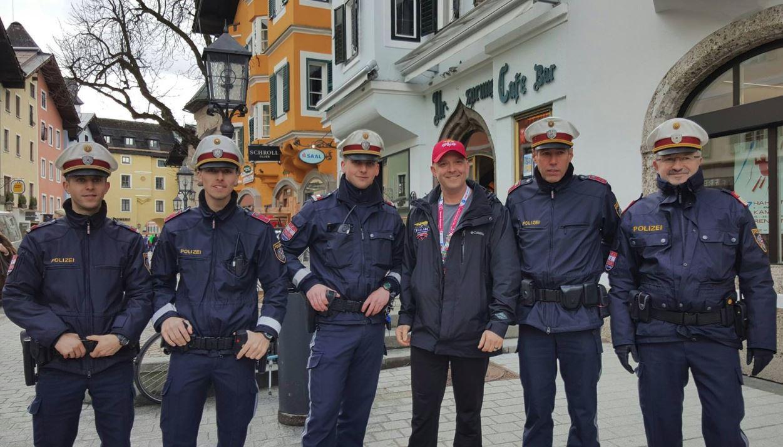 Cpl. Dawson with local police in Austria.