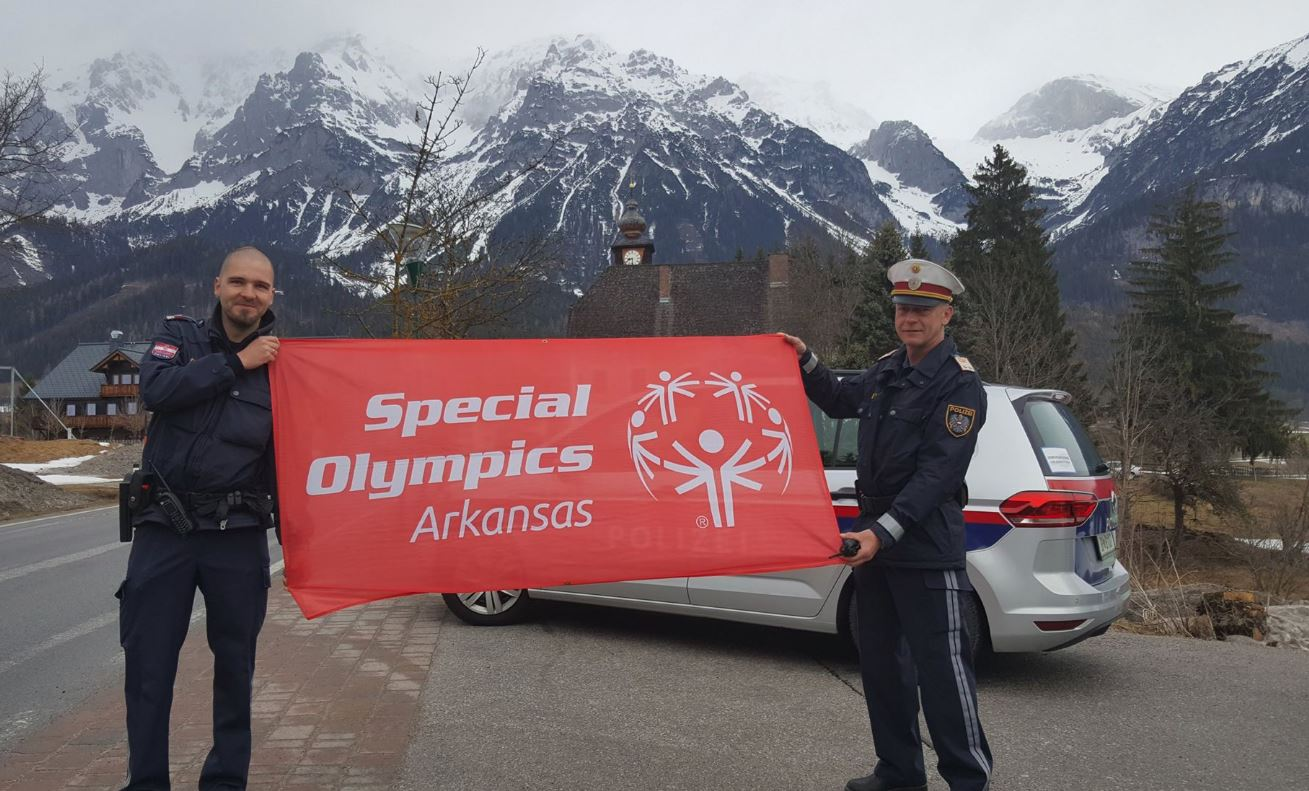 The Arkansas Special Olympics Banner in the Austrian Alps.