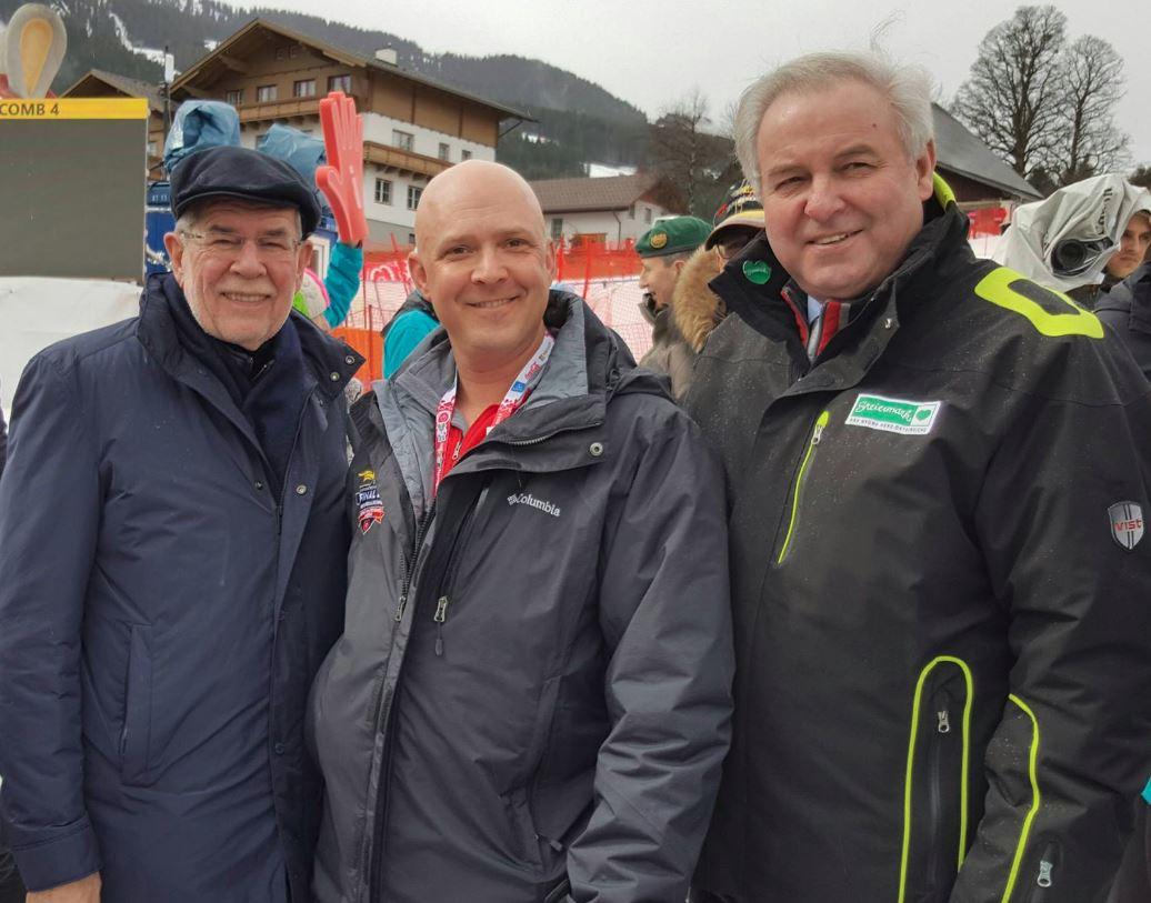 Cpl. Dawson taking a photo with Austrian President, Alexander Van der Bellen (left) and the Governor of the State of Styria, Hermann Schützenhöfer.