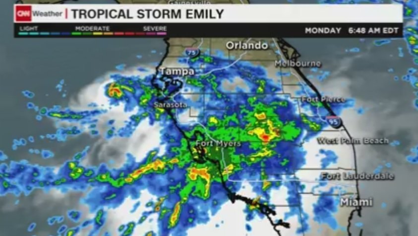 Tropical Storm Emily nears Florida's west