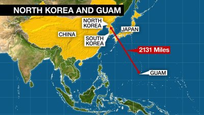 Trump warns north korea us military locked and loaded fort north koreas military is examining the operational plan to strike areas around guam with medium to long range strategic ballistic missiles gumiabroncs