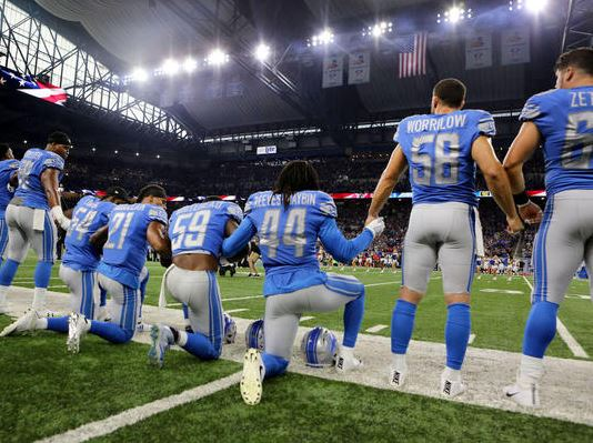 Detroit Lions take a knee during the playing of the national anthem prior to the start of the game against the Atlanta Falcons at Ford Field on September 24, 2017 in Detroit, MI. (Getty Images)