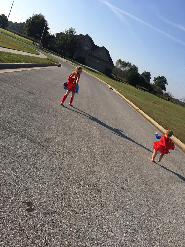 Anna Kate and Grace Helen dressed as superheroes. Photo sent in by Ashley Davis.