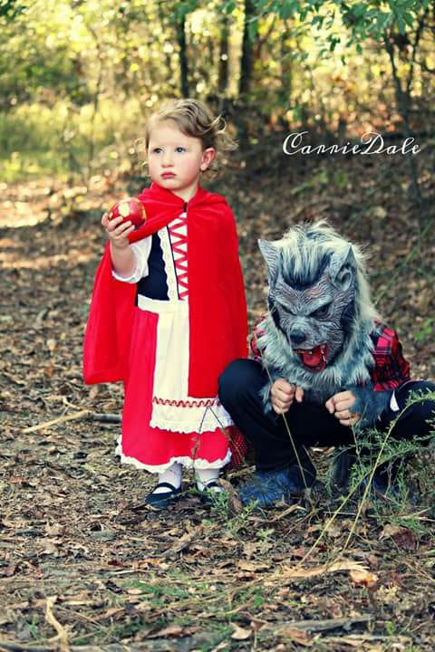 Conner and Lyleigh dressed as Little Red Riding Hood and the Big Bad Wolf. Photo sent in by Chelsea Marie Johnson.