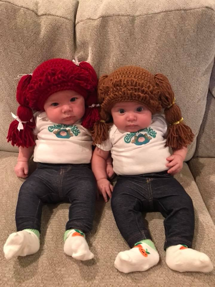 Evelyn and Emery dressed as the Cabbage Patch twins. Photo sent in by Shannon Leding.