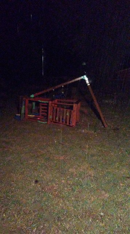 Swingset damaged by storm in Lavaca - Sent in by Nickey Suter