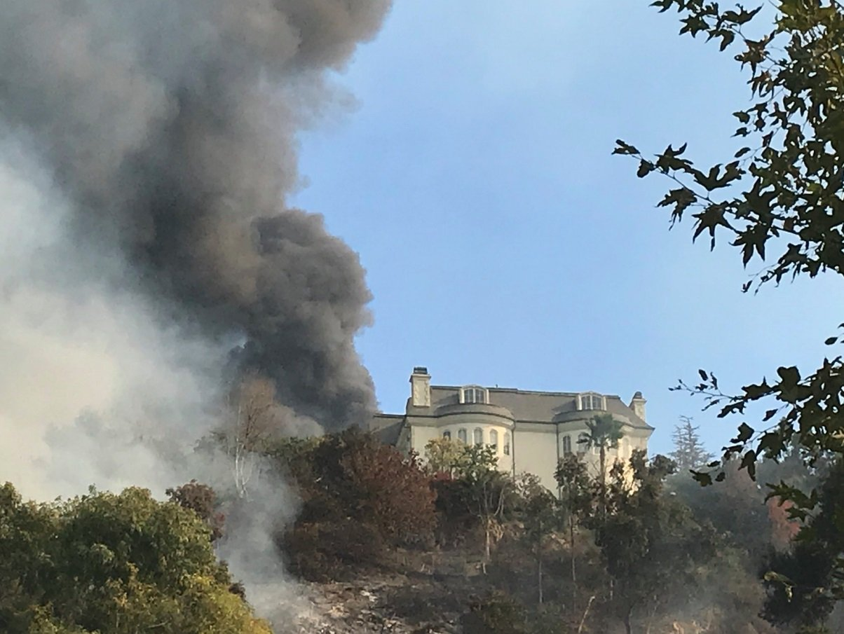 Fire burning in Bel Air during the Los Angeles fire on December 6, 2017.