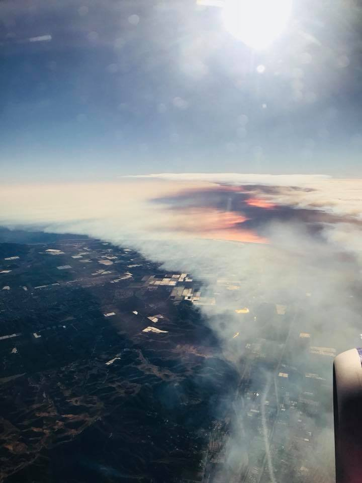 Wildfires are seen from the air on a flight into LAX Wednesday, December 7, 2017.