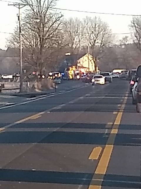 Wreck on Highway 16 backs up traffic in Elkins.  Courtesy: Kelly Laird