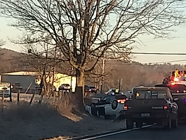 Wreck on Highway 16 backs up traffic in Elkins.  Courtesy: Kelly Laird