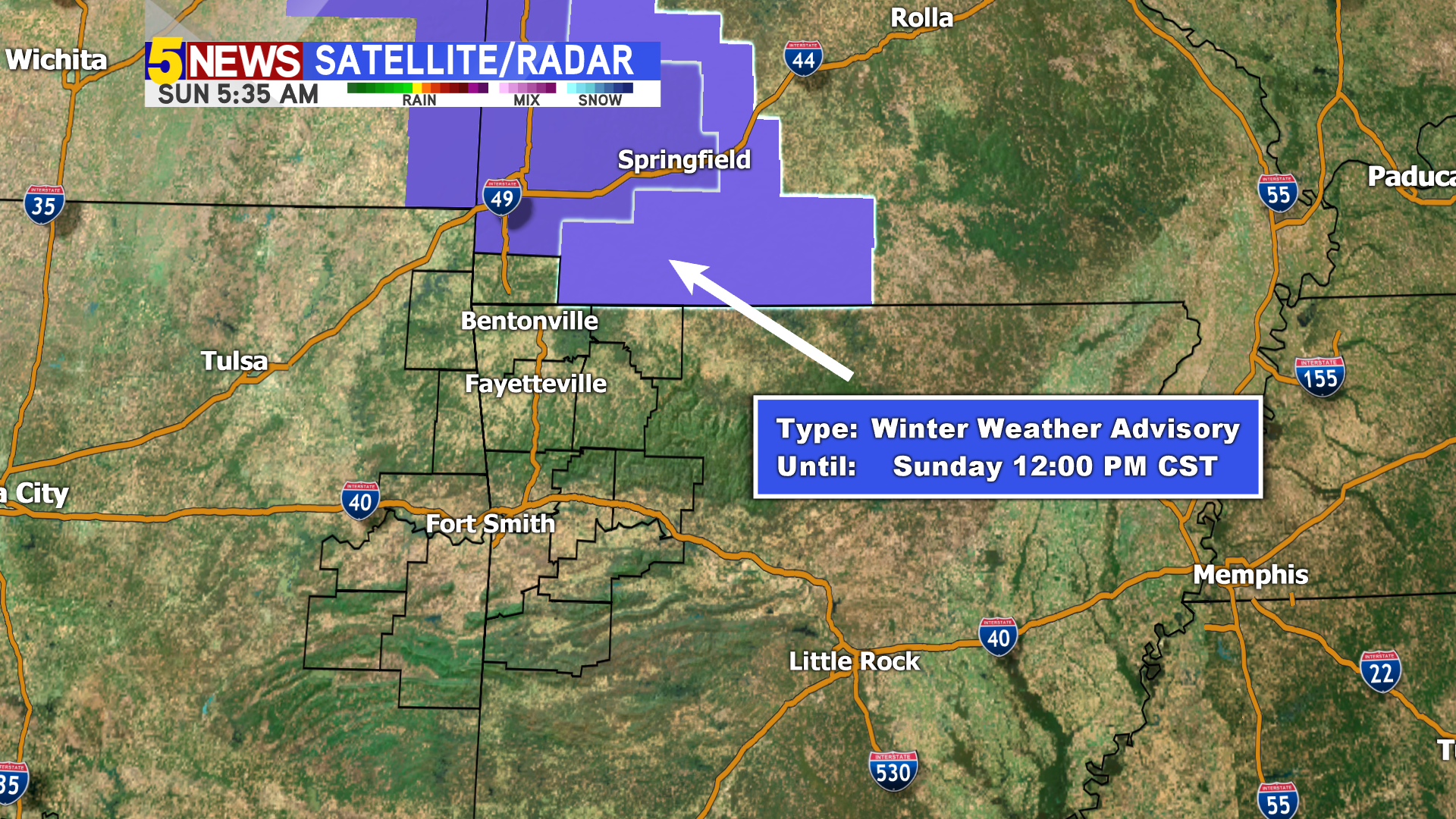Winter Weather Advisory Until 2PM For NW Arkansas