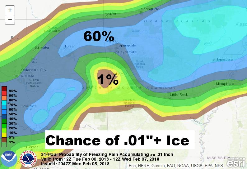 Ice Accumulation Forecast Maps For Northwest Arkansas Tuesday Night