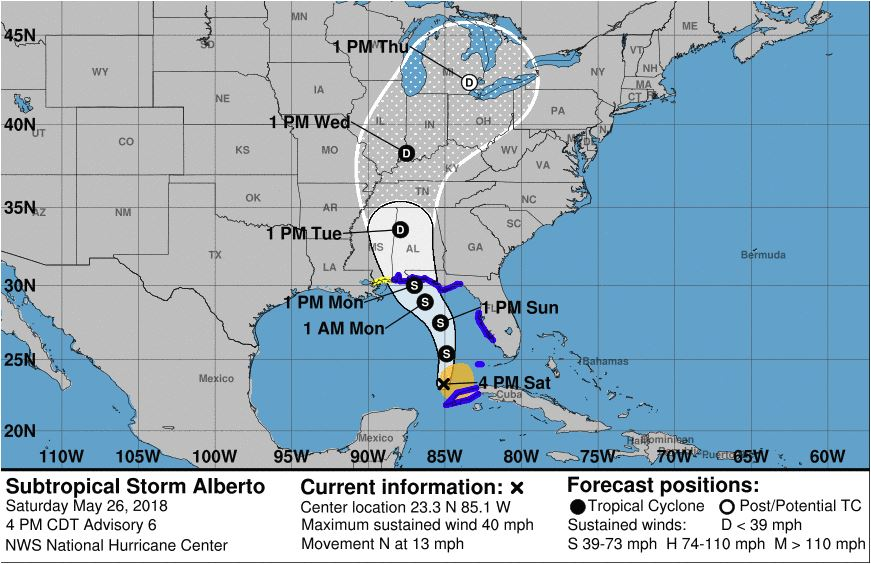 Alberto, first tropical storm for the season, forms, heads for Florida