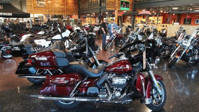 harley davidson motorcycles are offered for sale at the ukes harley davidson dealership on june 1 2018 in kenosha wisconsin the european union said it