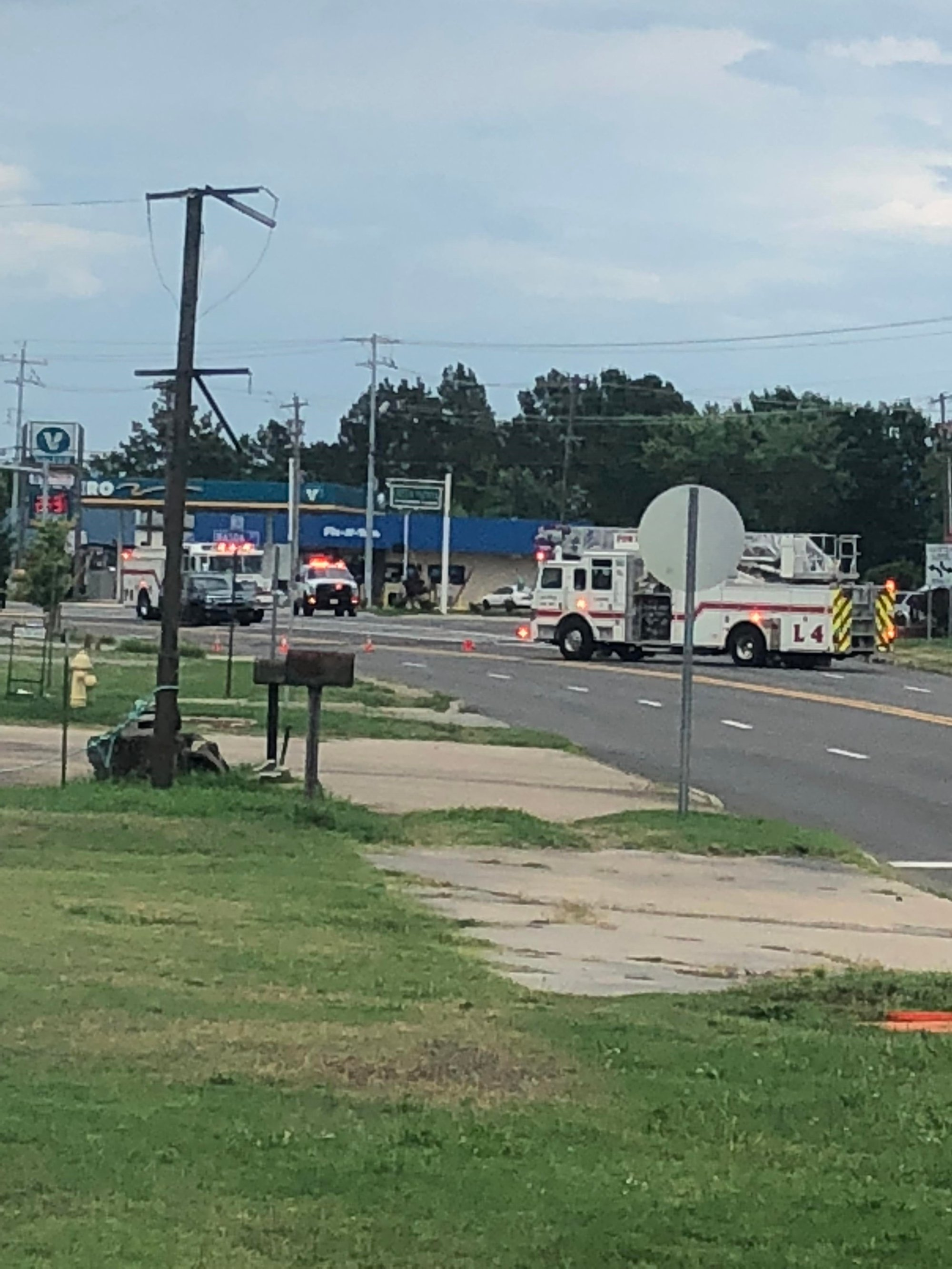 Single Vehicle Accident Hits Three Utility Poles, Causes Gas
