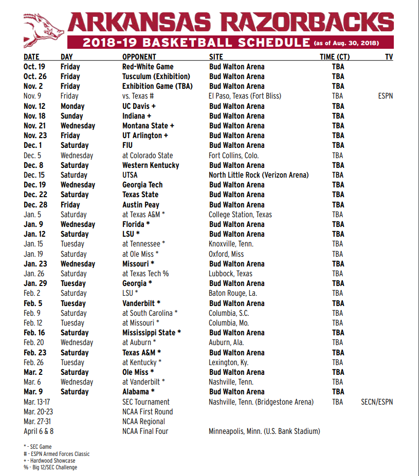 razorbacks finalize 2018 19 basketball schedule fort smith