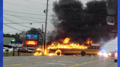 Tennessee School Bus Catches Fire After Crash No Students