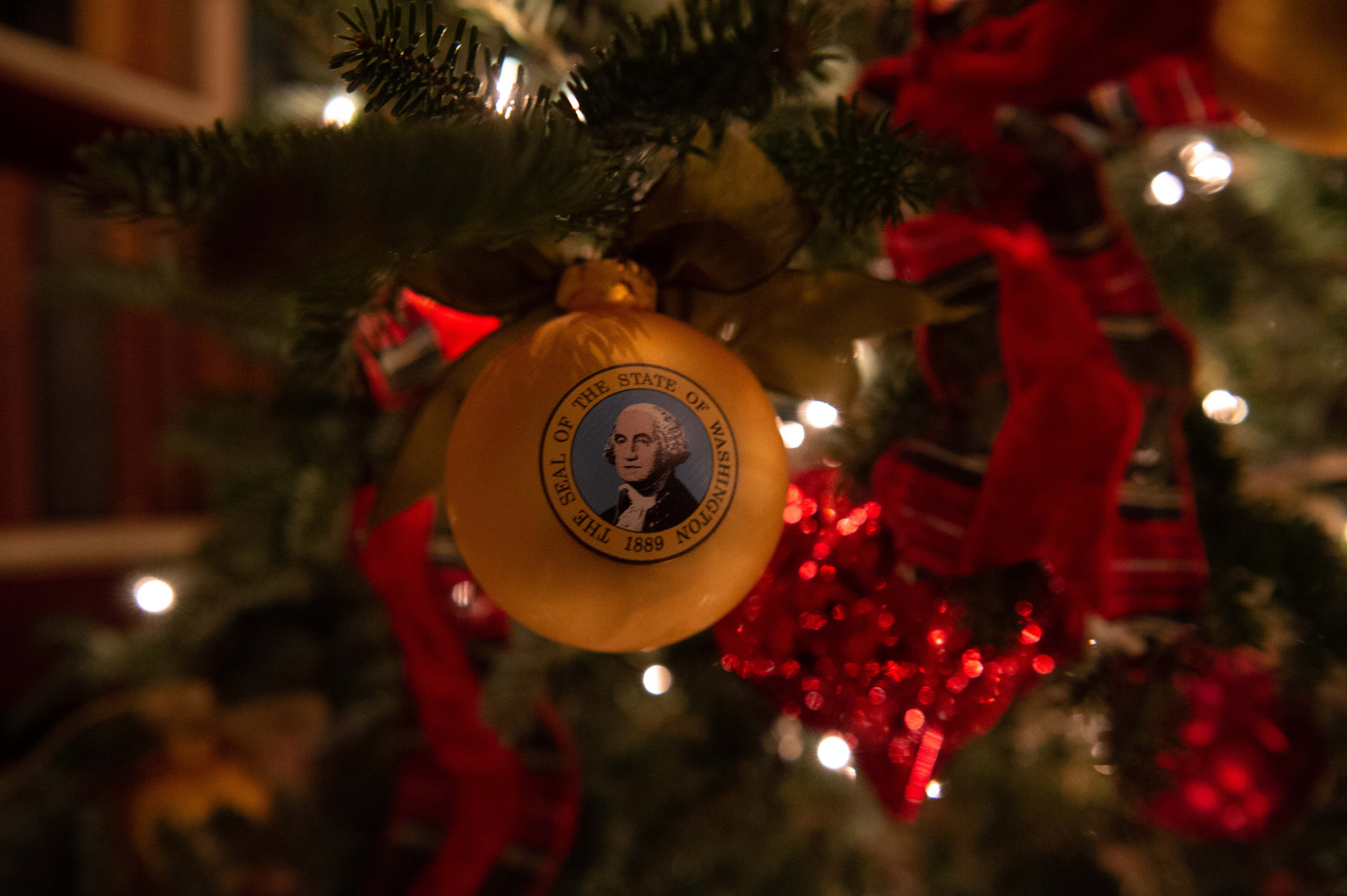 A Christmas ornament hangs from a tree at the White House during a preview of the 2018 holiday decor in Washington, DC, on November 26, 2018. (Photo by NICHOLAS KAMM/AFP/Getty Images)