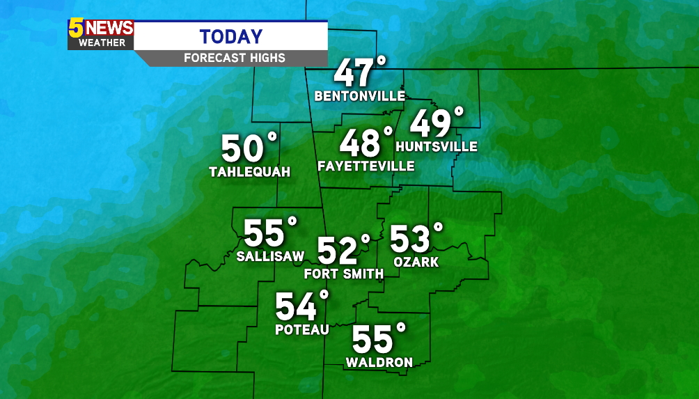 WATCH: Rain Showers And Chilly Today, Weekend Cold Blast