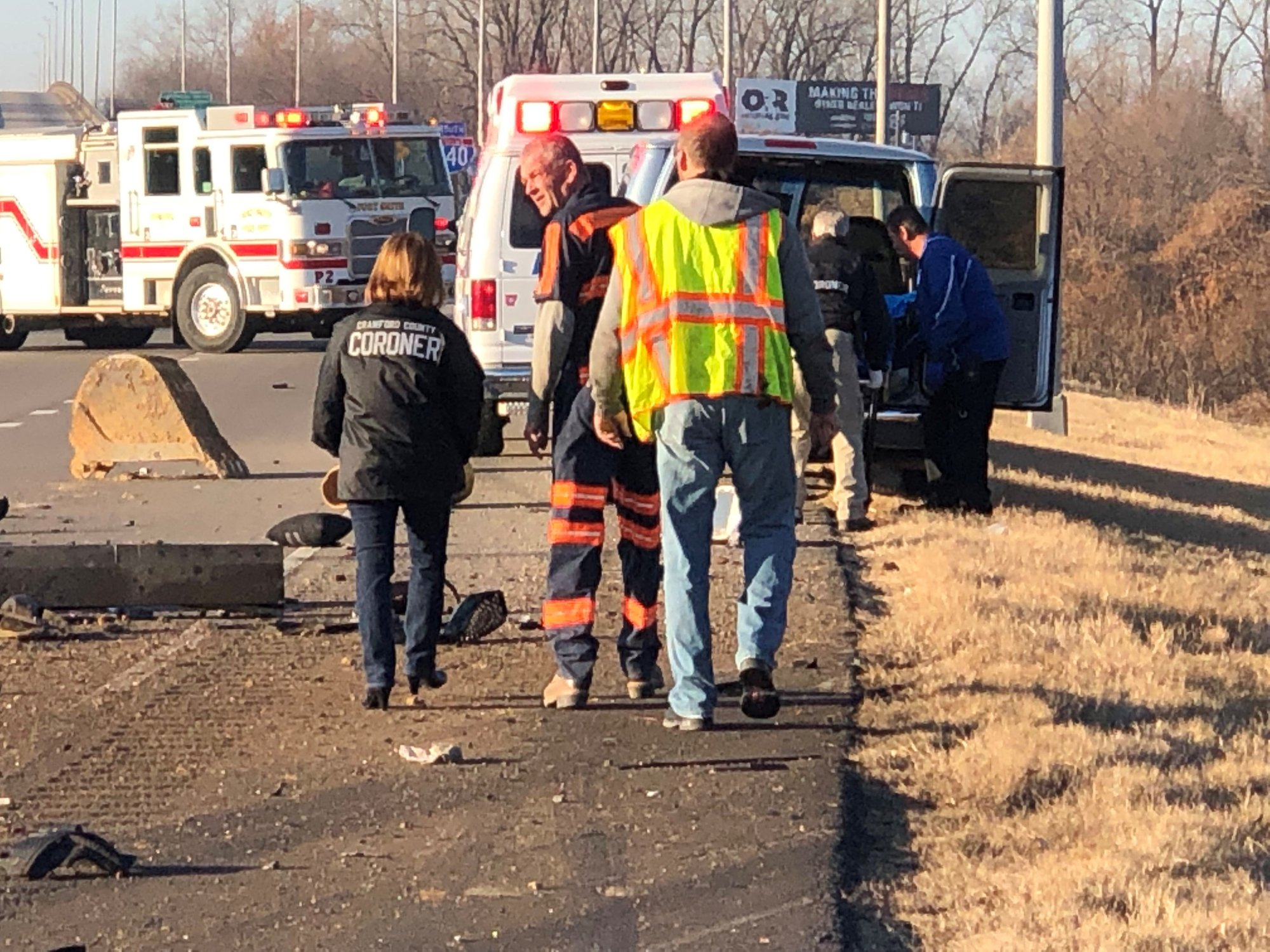 The Crawford County coroner is on the scene of the Interstate 540 accident.