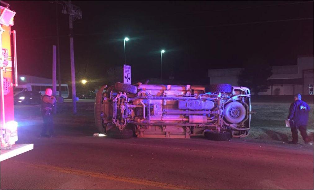 Tontitown overturn vehicle. Fire Dept. photo.