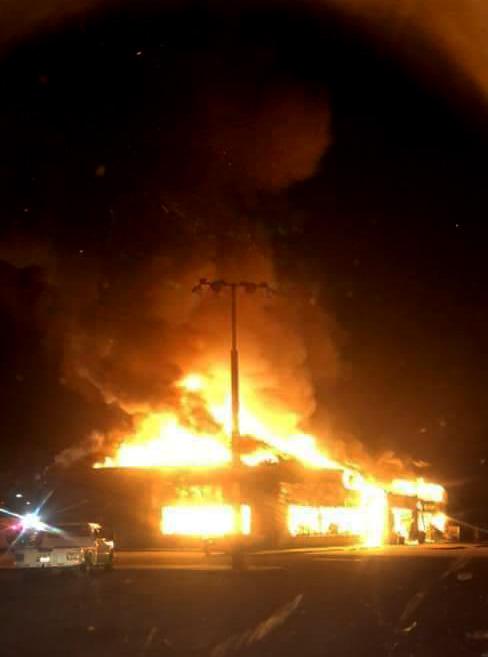 Fire destroys Ed's Truck Stop in Sallisaw, OK, on Jan. 25, 2019. (Photo courtesy of Richard Matthews)