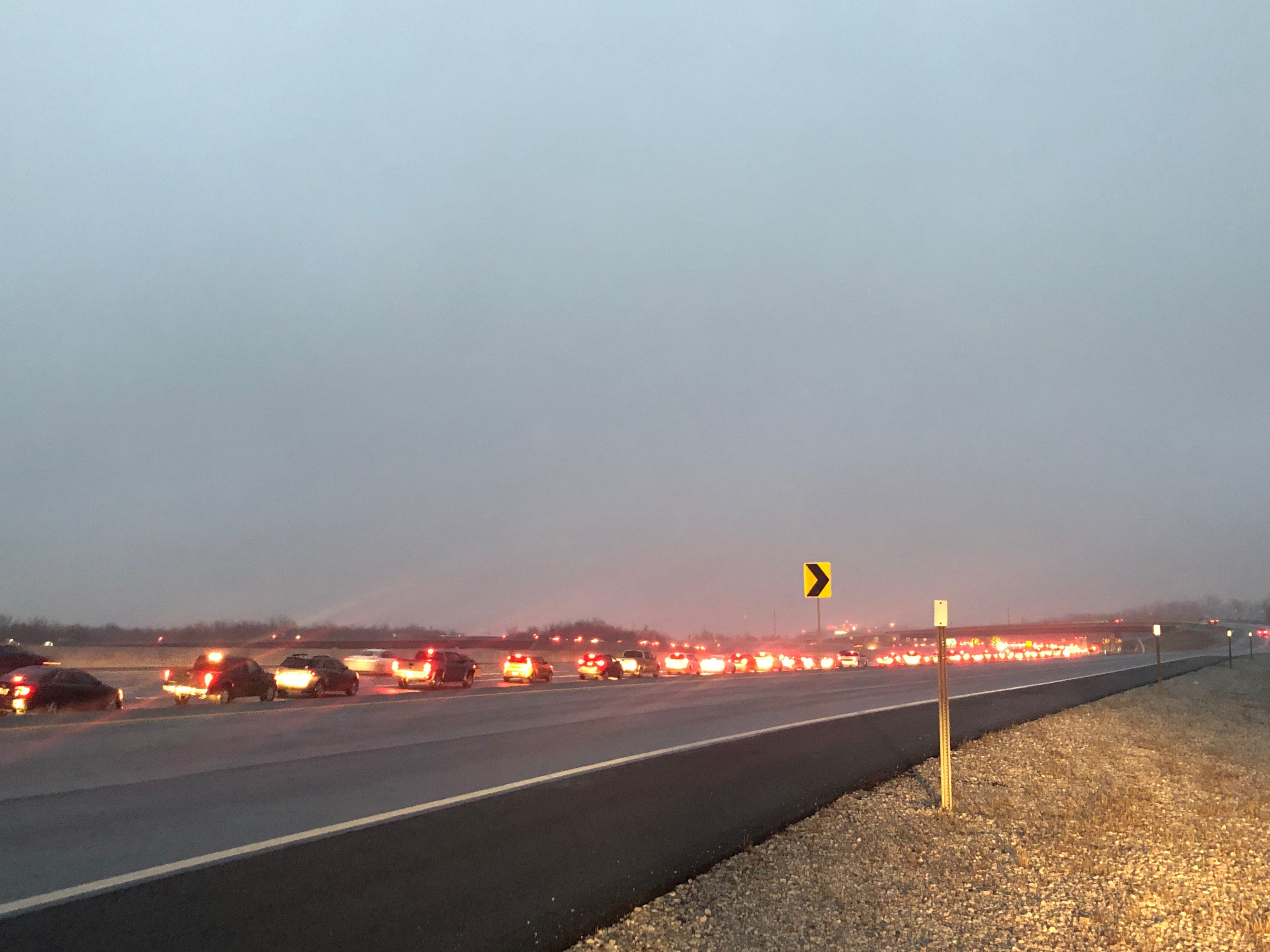 Traffic was stopped on the Fulbright Expressway in Fayetteville early Thursday (Feb. 28) after freezing drizzle left overpasses icy and caused several wrecks. (5NEWS/Jordan Tidwell)