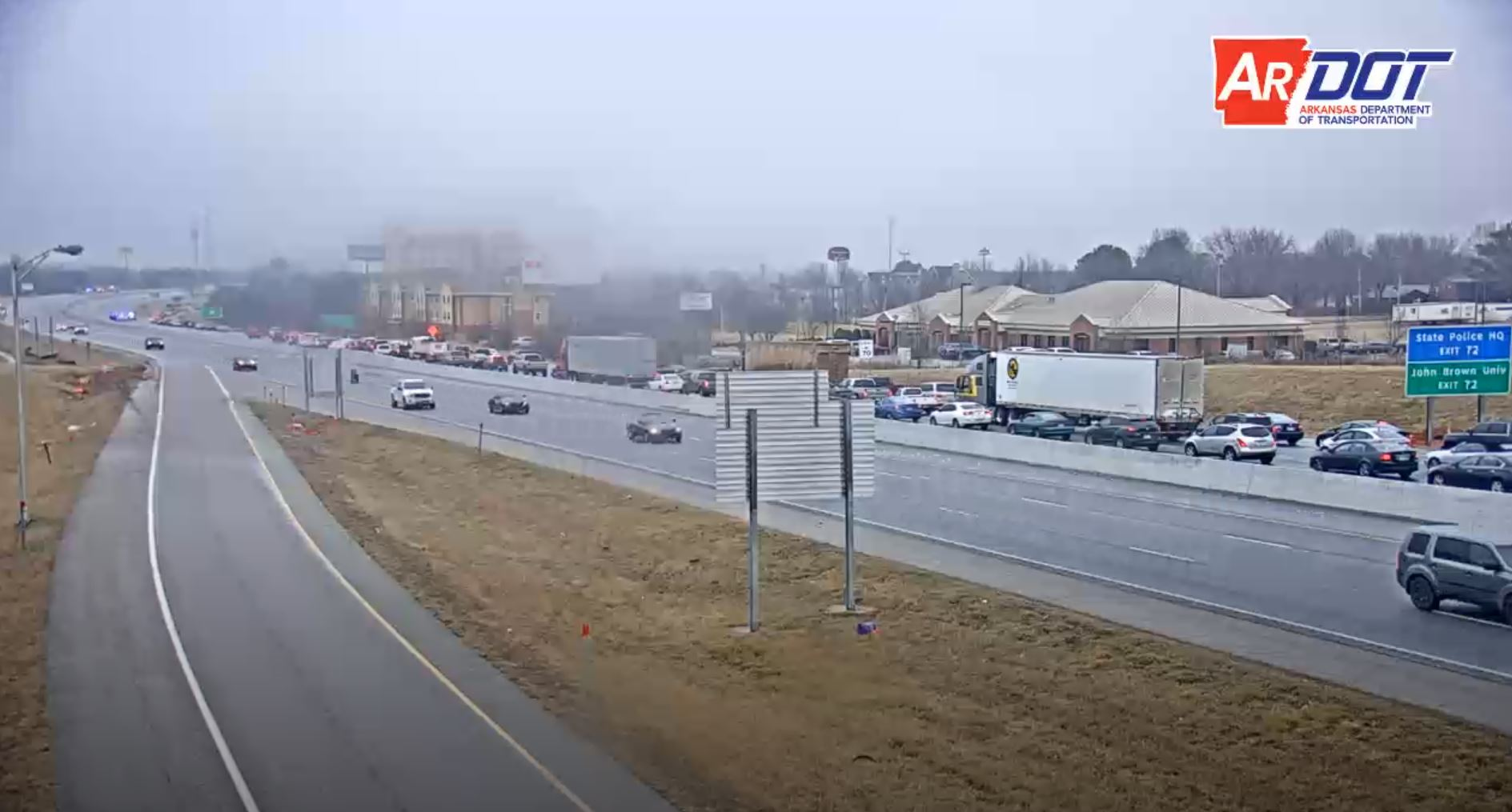 Traffic diverted off Interstate 49 at the U.S. 412 exit in Springdale. The interstate was closed for two hours so the icy overpass could be treated. (Photo courtesy of ArDOT)