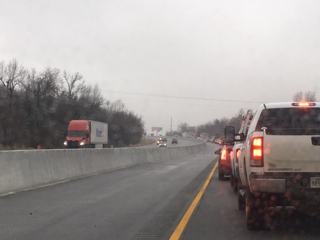 Traffic stopped on Interstate 49 southbound in Springdale.