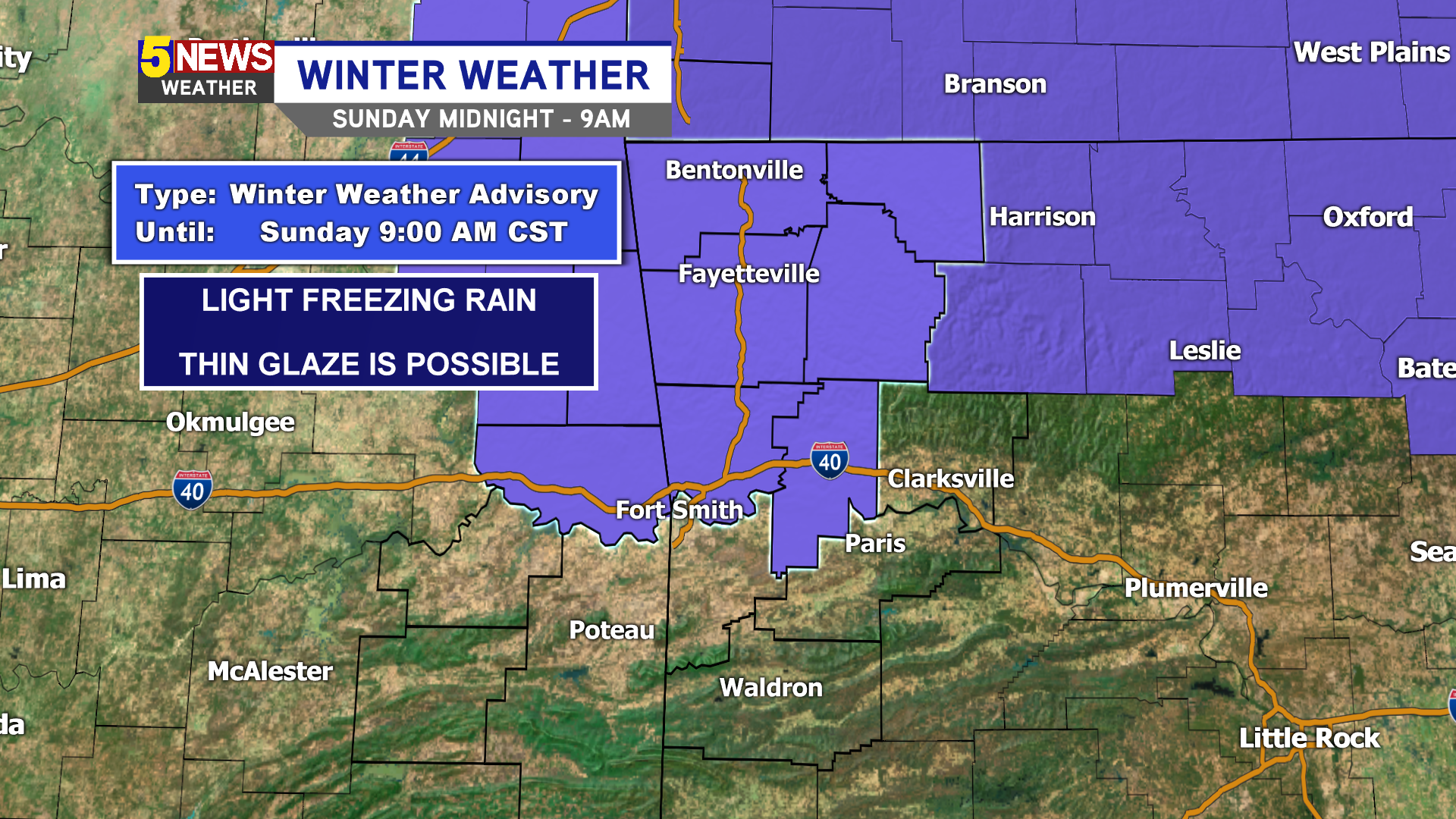 Winter weather advisory in effect until 9 pm Sunday