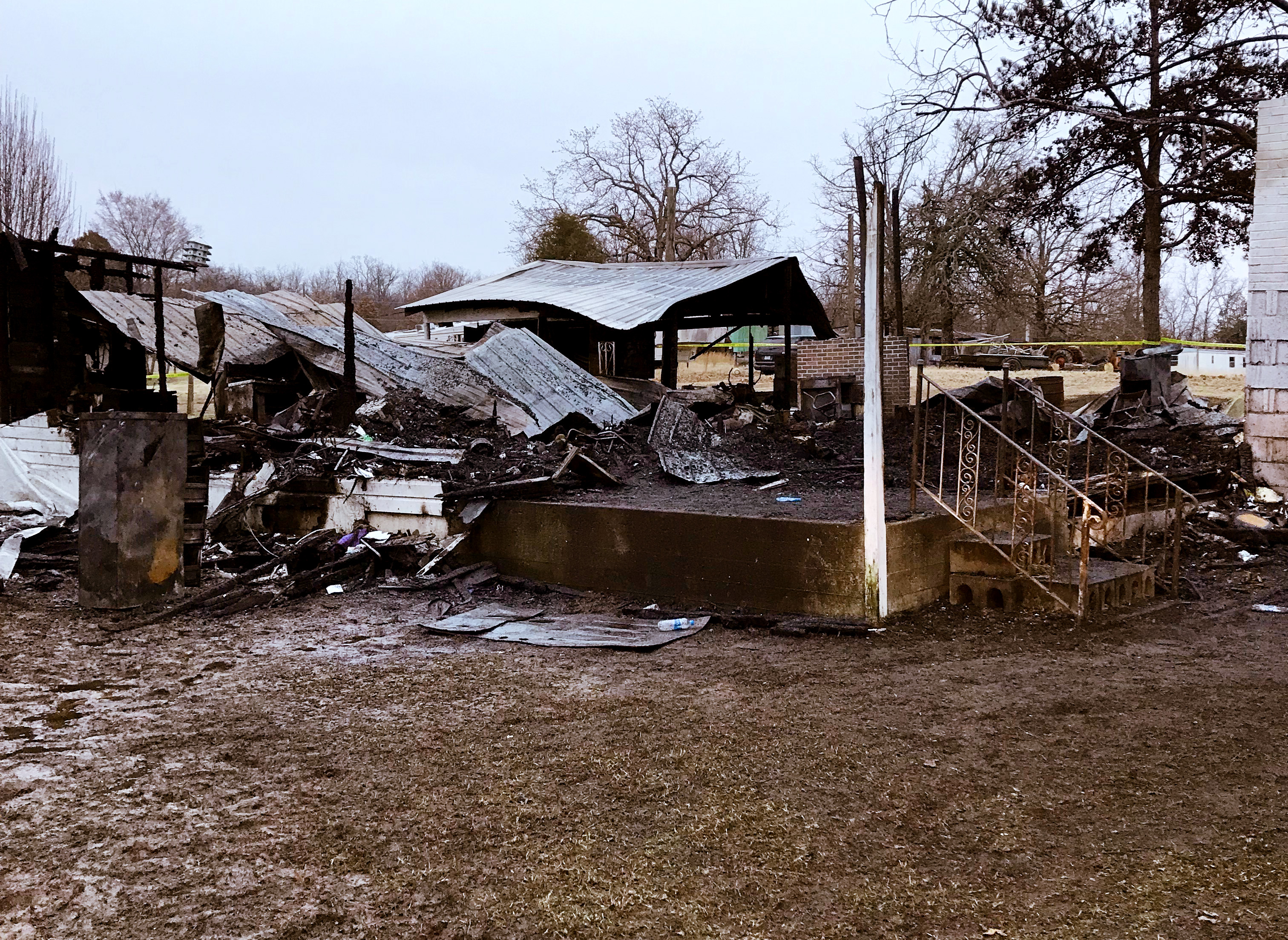 An elderly couple died in a house fire north of Muldrow on Friday, Feb. 1, 2019. (Courtesy of the Sequoyah County Sheriff's Office)