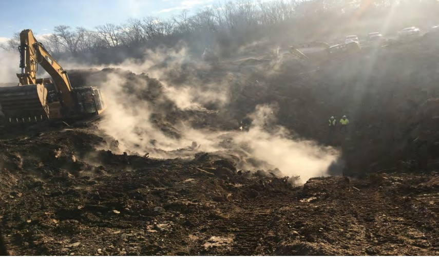 Smoke vent with steam approximately 25 feet below ground service (bgs) encountered on 1-27-19. EnSafe personnel performing air monitoring of trench.