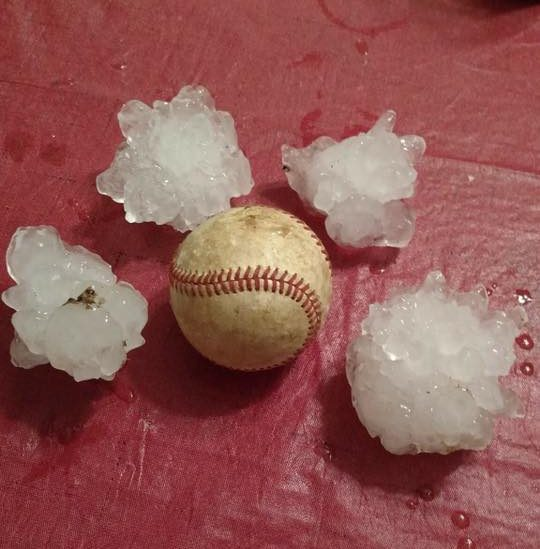 Hail in Howe courtesy of Andrea Stinson.