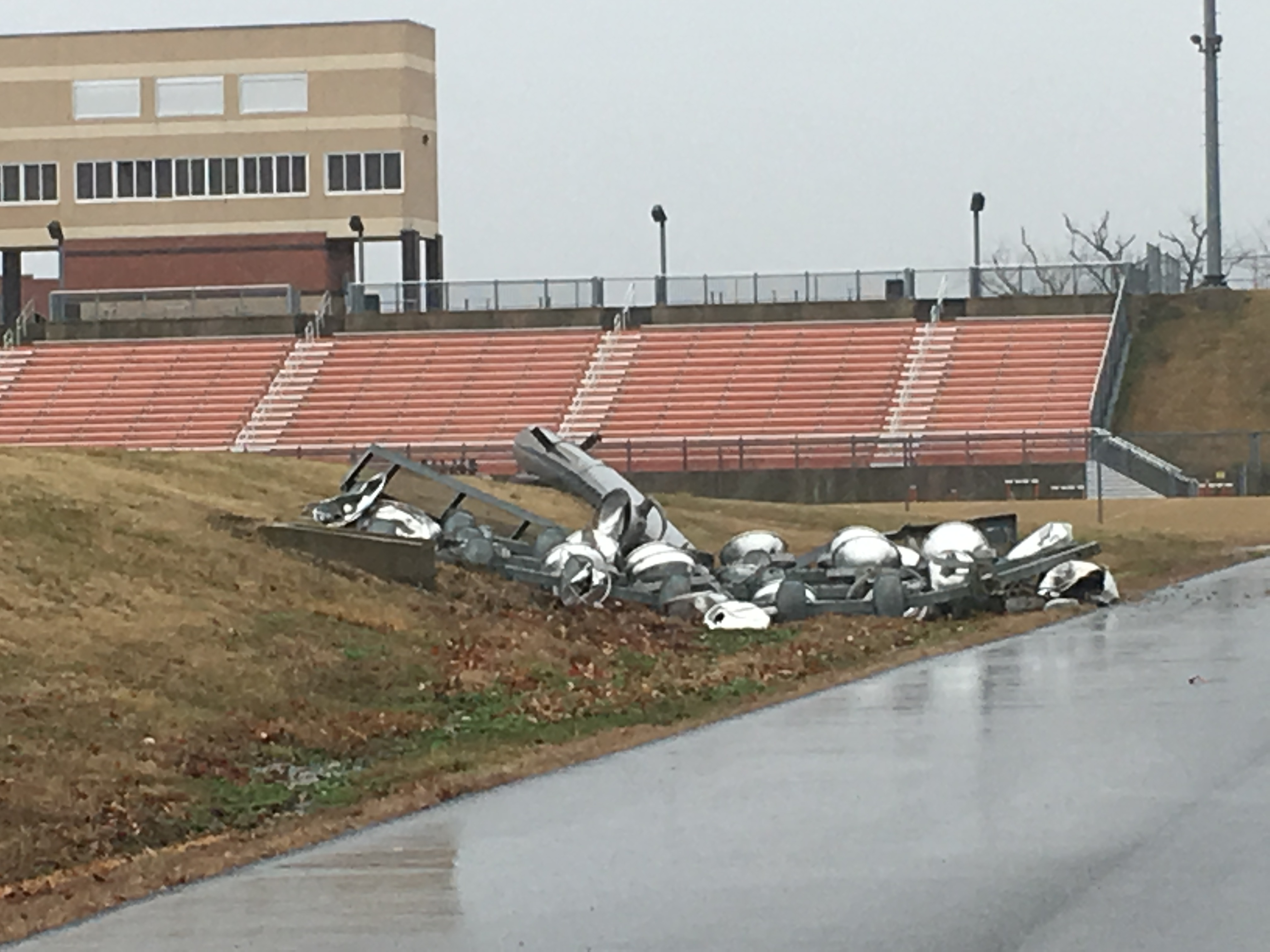 A light pole fell at the Gravette High School football stadium on Wednesday, March 13, 2019, as high winds moved into the area. (Photo by Kathryn Gilker/5NEWS)