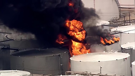 Crews work to control large fire at Texas petrochemicals plant
