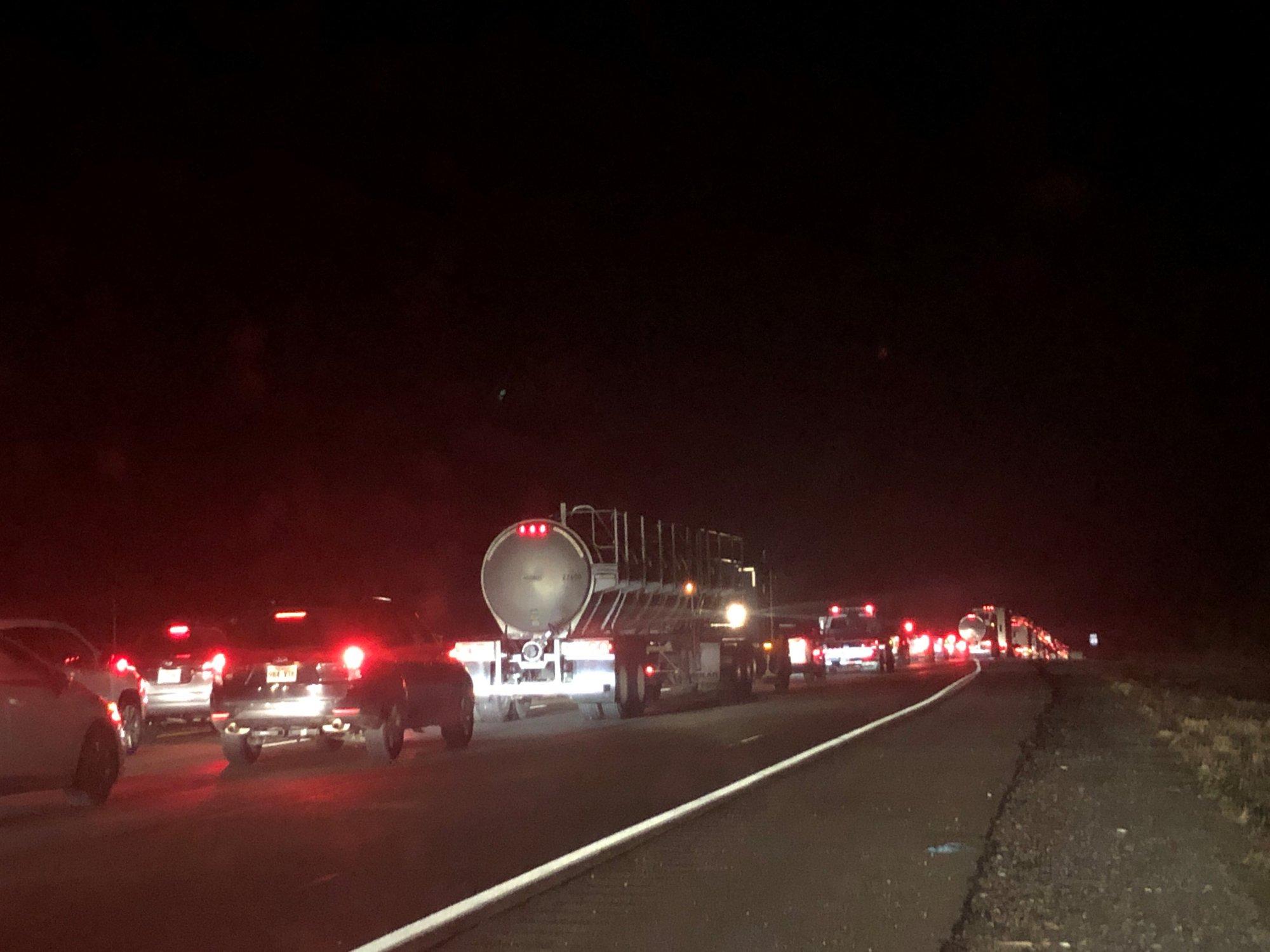 Traffic stopped on Interstate 49 near West Fork. (KFSM/Jordan Tidwell)
