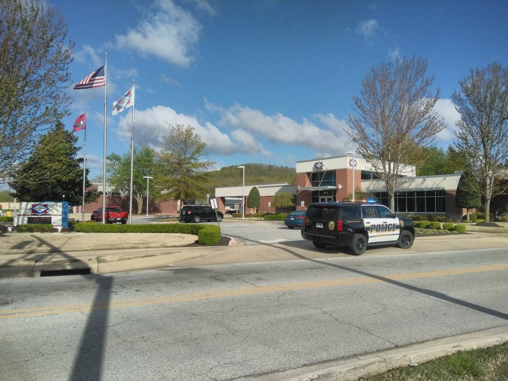 Police responded to an armed robbery at Centennial Bank on MLK Boulevard on Friday, April 19, 2019.