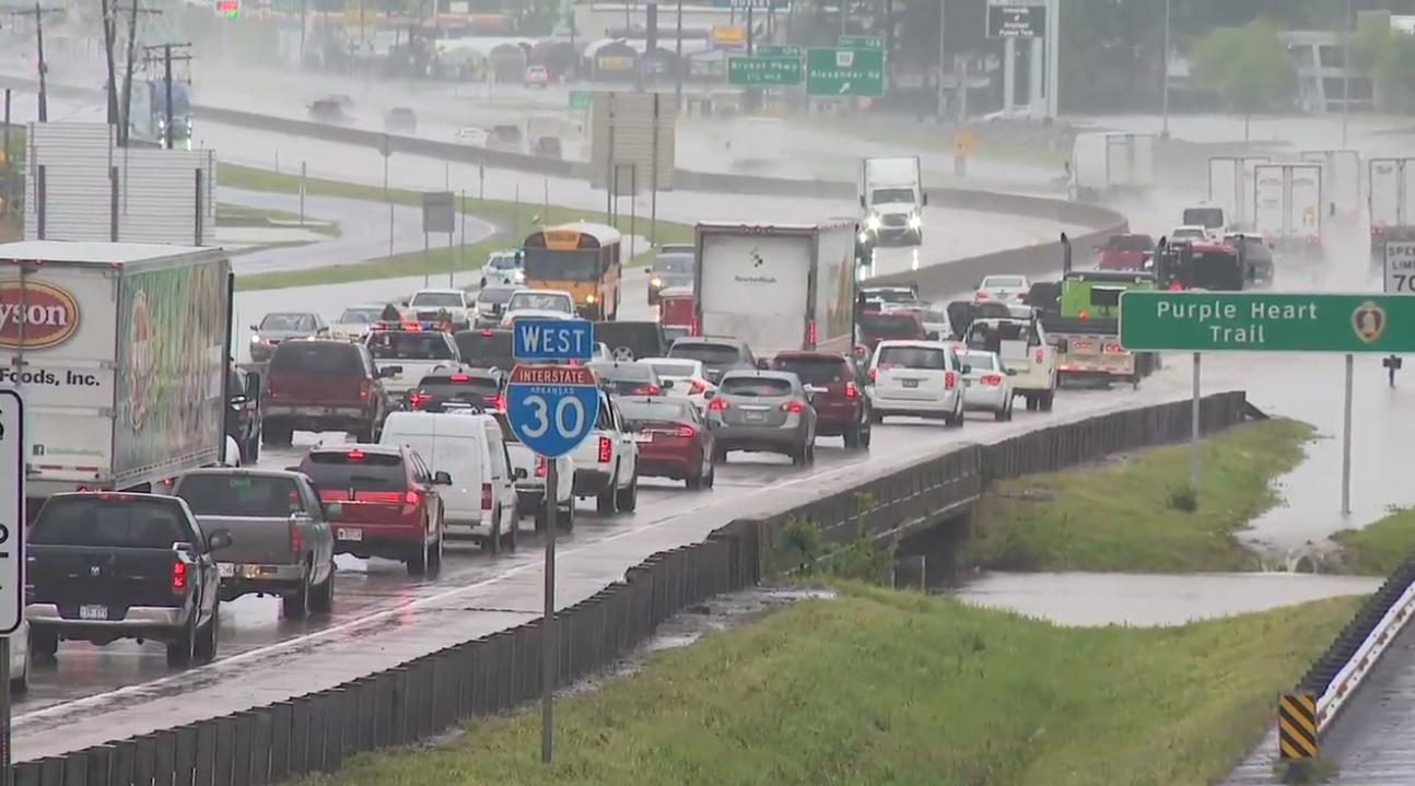Traffic is stalled along Interstate 30 near Alexander as floodwaters cover the road. (Courtesy KATV)