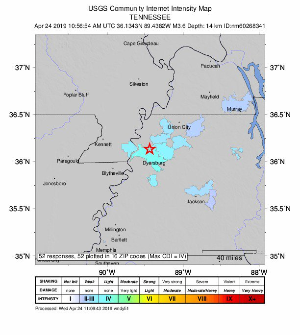 3.6 Magnitude Earthquake Hits West Tennessee