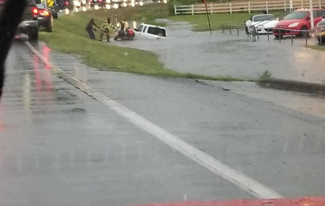 A water rescue took place Thursday morning along Highway 107 near Little Rock (Courtesy Keijuana Conley and KATV)