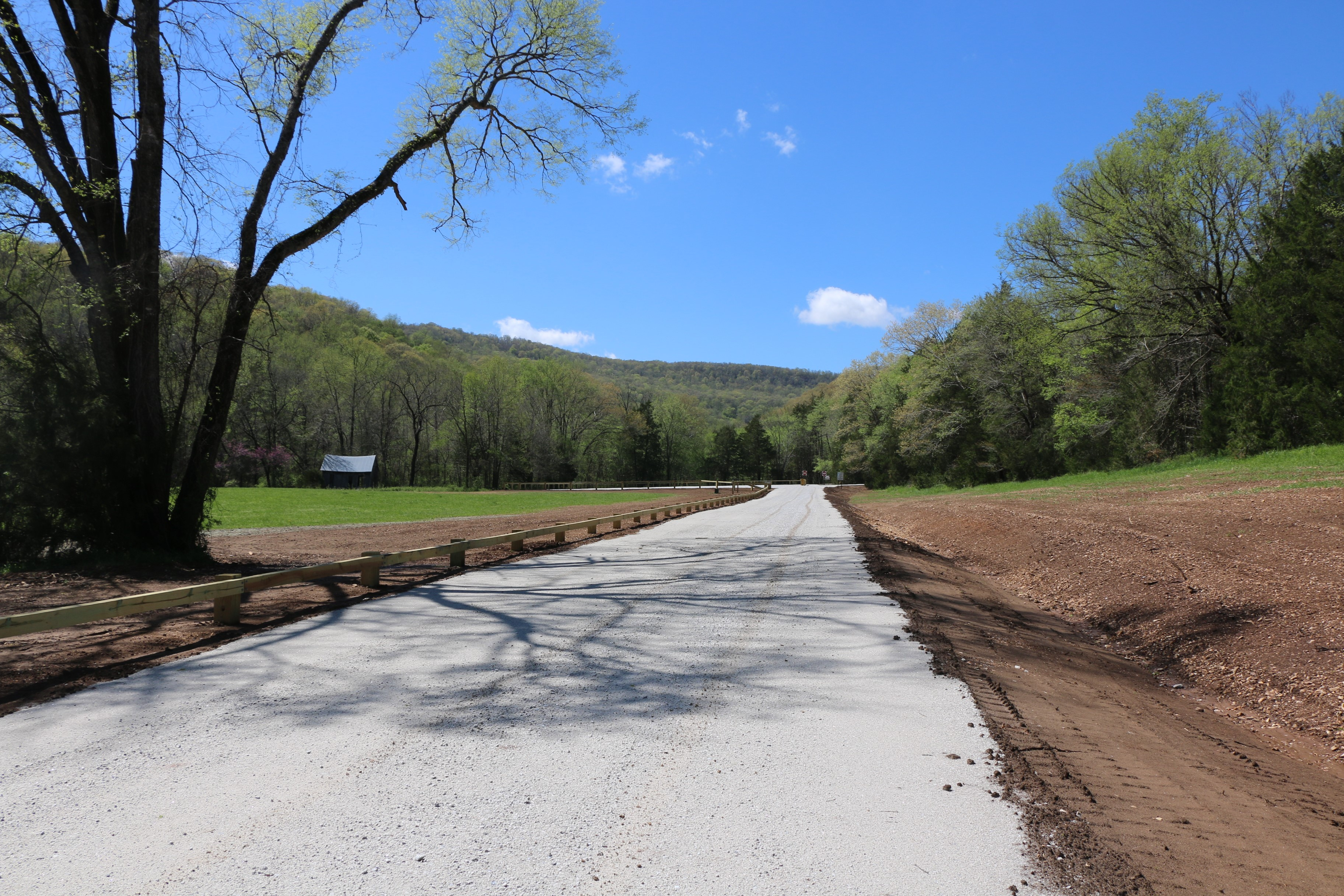 The new Lost Valley entrance road and parking lot were constructed outside of Clark Creek's flood zone. Photo: Madison West/NPS