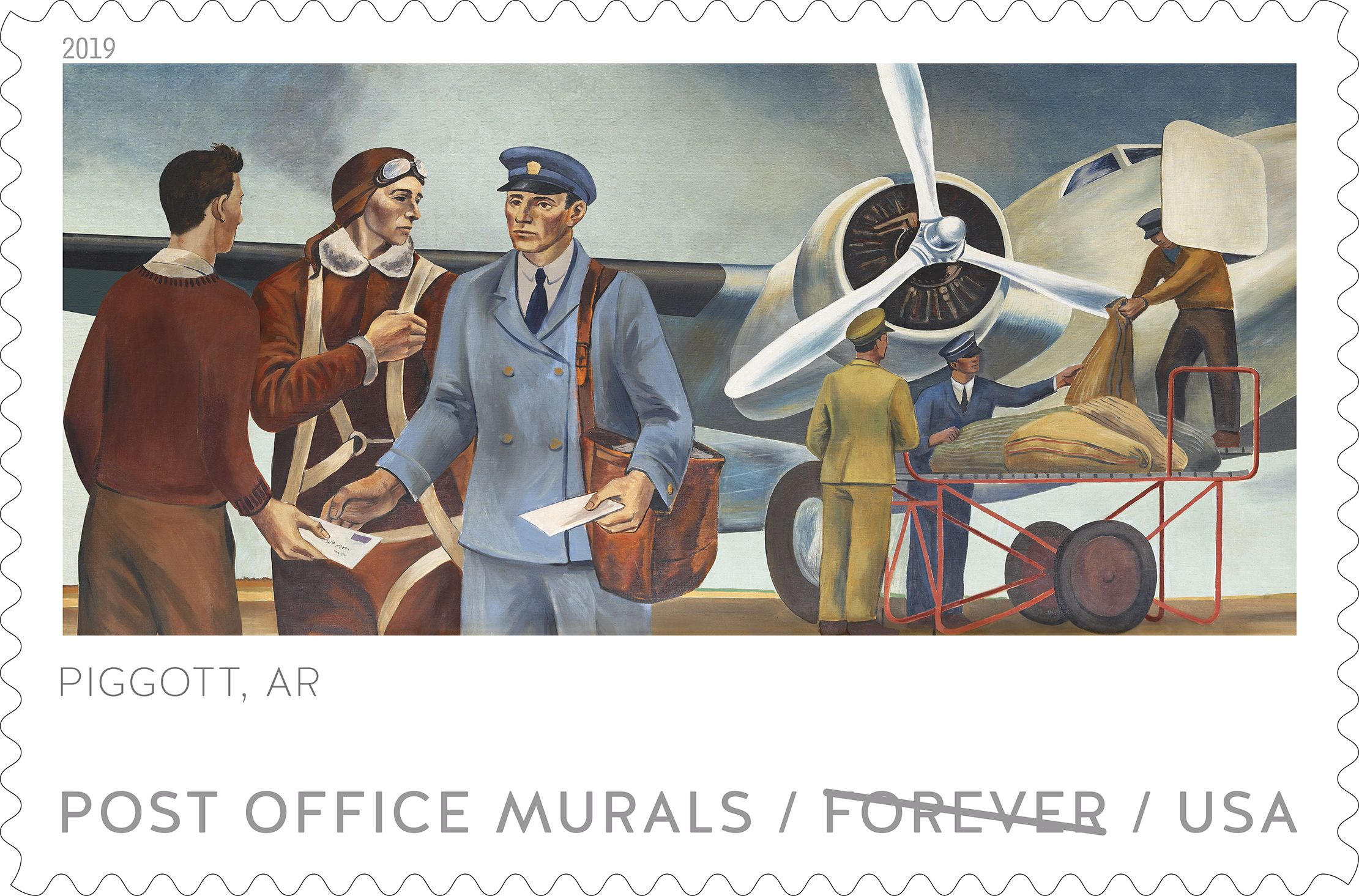 A new set of five stamps depicting Post Office murals will feature one from Piggott, Arkansas. The stamps will be unveiled officially on Wednesday, April 10, 2019.  (Courtesy of the USPS.)