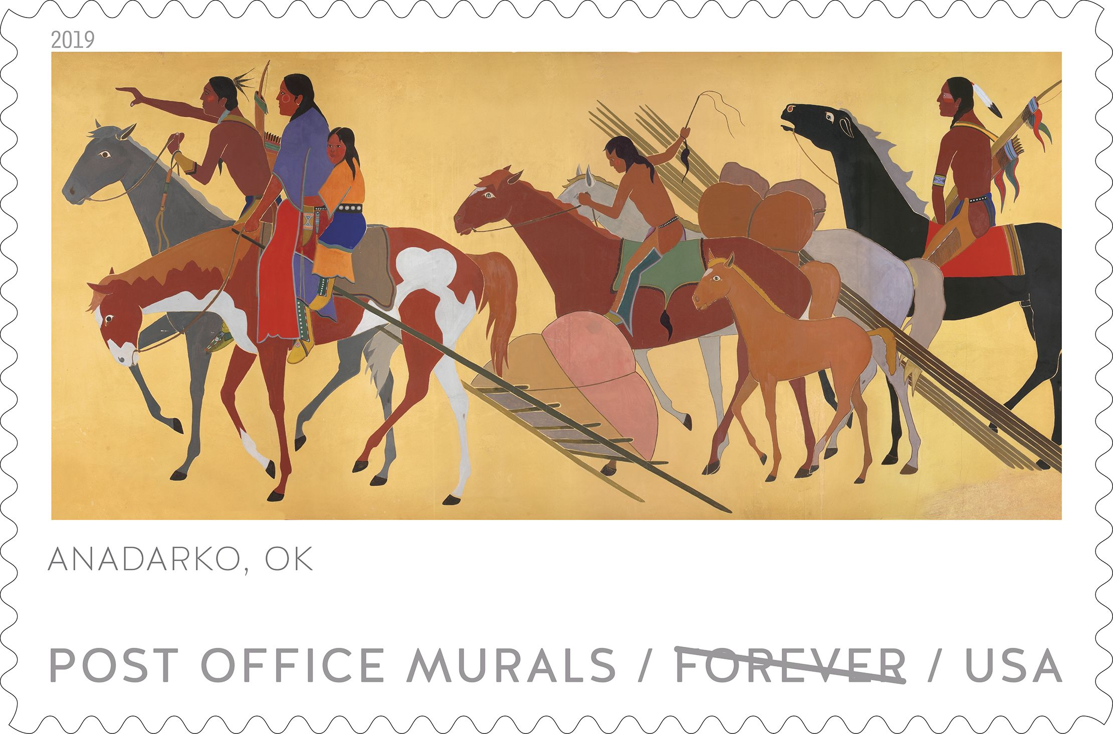 A new set of five stamps depicting Post Office murals will feature one from Anadarko, Oklahoma. The stamps will be unveiled officially in Anadarko on Tuesday, April 30, 2019. (Courtesy of the USPS.)