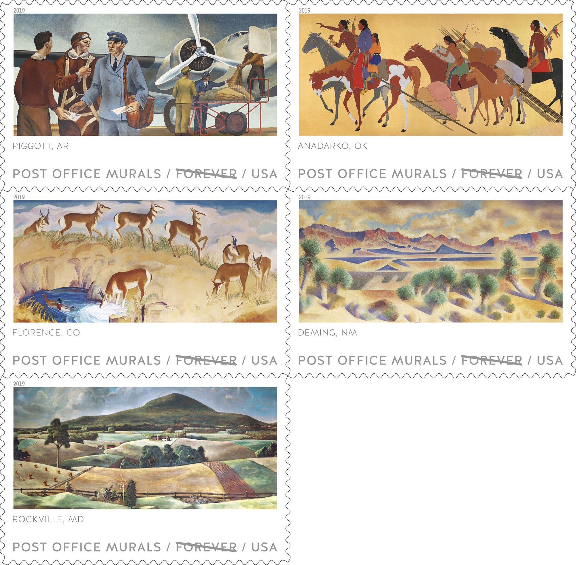 A new set of five stamps depicting Post Office murals will feature one from Piggott, Arkansas, and another from Anadarko, Oklahoma. (Courtesy of the USPS.)