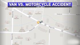 Motorcycle, Van Collide At Rogers And Phoenix Avenues In