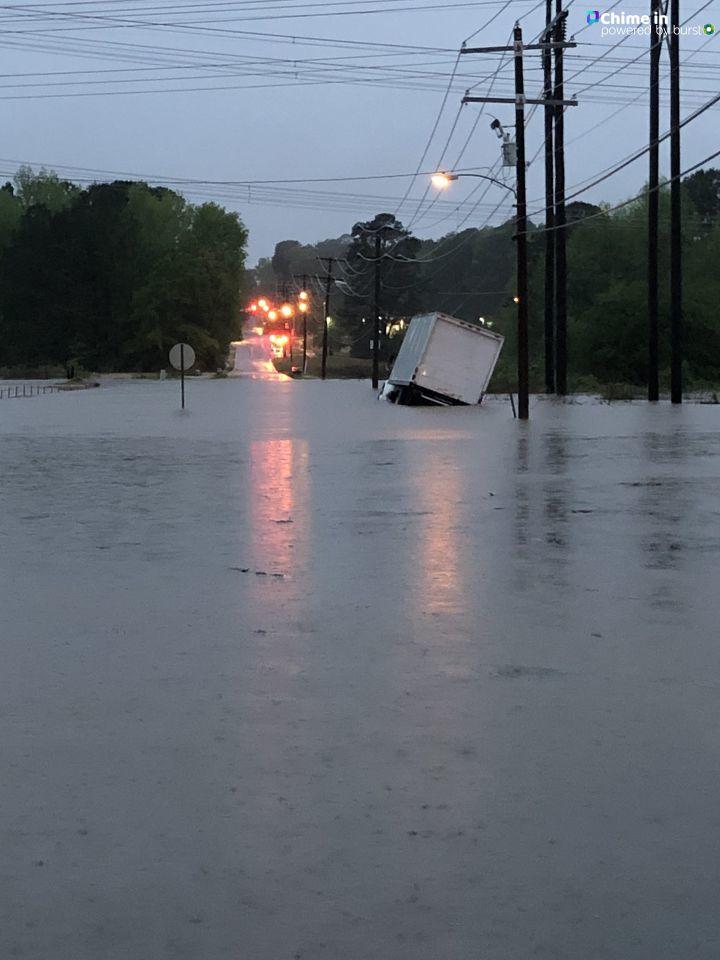 Flooding at Vimey Ridge and Sardis Roads in Alexander. (Courtesy Gary Hughes and KATV)